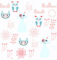 cats and owls abstract seamless pattern it is vector image