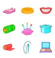 charwoman icons set cartoon style vector image vector image