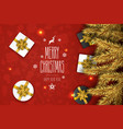 christmas compositionon on red background for vector image vector image
