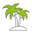 Color silhouette image island tropical palm trees vector image