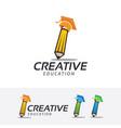 creative academy logo design vector image vector image