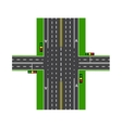 Crossroads With the help of traffic lights Road vector image vector image