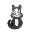 cute cartoon black cat on white background vector image vector image