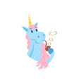 cute funny unicorn character smoking pipe with vector image vector image