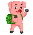 cute school pig walking with a backpack vector image vector image