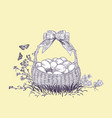 easter basket eggs engrave card isolated vector image