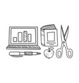 education icons set hand drawn school objects vector image