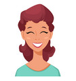 Face expression of a woman - laughing female vector image