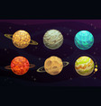 fantasy space planets cartoon set game galaxy vector image