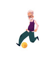 flat grandfather playing football vector image vector image