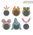 funy cartoon happy animal face masks for mobile vector image vector image