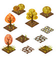 garden or farm isometric tile set vector image