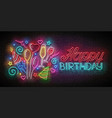 glow greeting card with balloons champagne vector image vector image