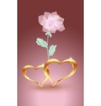 Gold jewelry hearts with rose
