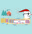 greeting card with christmas trees house and vector image