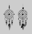 grunge dreamcatcher with feathers and branches vector image vector image
