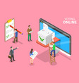 isometric flat concept online voting and vector image