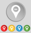 Minus Map pointer GPS location icon sign Symbol on vector image vector image