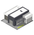 One-storey house with flat roof isometric icon set vector image