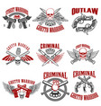 outlaw criminal street warrior emblems design vector image vector image