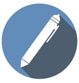 pen icon with long shadow vector image vector image