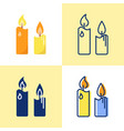 pillar candles icon set in flat and line style vector image