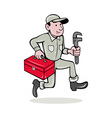 plumber with monkey wrench and toolbox vector image vector image