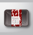 premium quality beef steak container mock up vector image