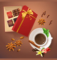 realistic chocolate drink and spices vector image