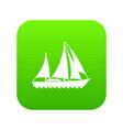 sailing ship icon green vector image