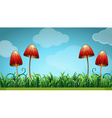 Scene with mushrooms in the field vector image vector image
