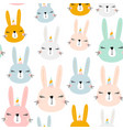 seamless pattern with cute bunny unicorn vector image
