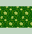 seamless pattern with flowers on green background vector image vector image