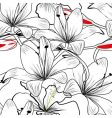 seamless pattern with white lily vector image vector image