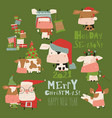 set bulls in costume and hat in different poses vector image vector image