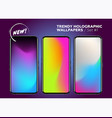 set holographic gradients modern bright vector image vector image