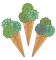 set ice cream from succulents vector image vector image