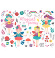 set isolated magical fairies and other elements vector image vector image