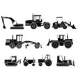 Set of icon heavy machines in black and white