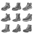 Set of nine different boots isolated on white vector image vector image