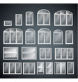 set of window frames isolated on transparent vector image