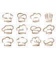 set vintage chef and cook hats vector image vector image