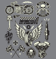set vintage motorcycle elements vector image