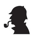 sherlock holmes silhouette vector image vector image