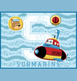 submarine cartoon funny explorer on blue wave vector image vector image