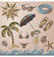 Summer holidays seaside beach icons set vector image