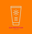 sun protection cream flat line icon sunblock sign vector image