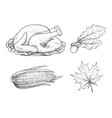 turkey dish and maple leaves sketches set vector image