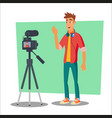 video blogger cheerful young blogger man vector image vector image