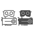 vr headset and cpu line and glyph icon virtual vector image vector image